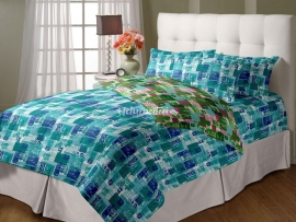 Leaves & Squares - Double Reversible Quilt