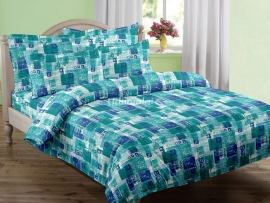 Leaves & Squares - Single Bed Sheet Set